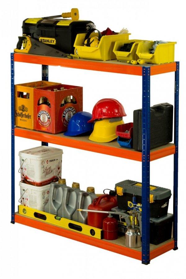 Metallregal Werkstatt Schwerlastregal Helios 106x090x40_3 Böden, Tragkraft bis 400 Kg pro Boden,  Viele Farben zur Auswahl
