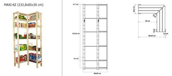 Holzregal Lagerregal Kellerregal Maxi 6Z (232,8x85x30), 6 Böden