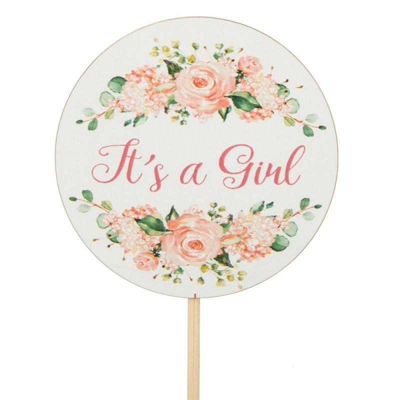 Topper Okrągły It's A Girl Róże I Napis