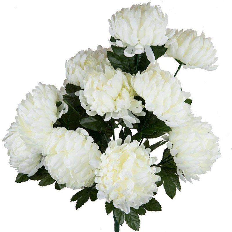 Bukiet Chryzantema Gruba Duże Kwiaty 50cm - Ecru