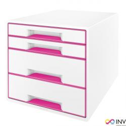 Pojemnik z 4 szufladami LEITZ WOW biało-różowy 52132023