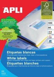 Etykiety uniwersalne APLI, 210x148mm, prostokątne, białe 100 ark.