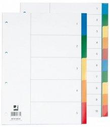 Przekładki Q-CONNECT, PP, A4, 230x297mm, 10+1 kart, mix kolorów