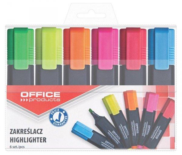 Zakreślacz fluorescencyjny OFFICE PRODUCTS, 1-5mm (linia), 6szt., mix kolorów
