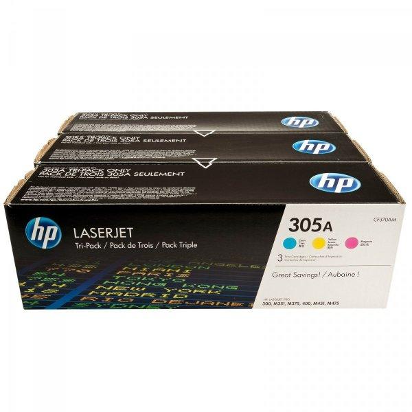 Tonery oryginalne 3PAK HP 305A (CF370AM)  CMY do HP Color LaserJet M451 / Pro 400 Color M451 / Pro 300 color M351a / Pro 300 color MFP M375nw / Pro 400 color MFP M475 (3 x 2,6 tys. str.)