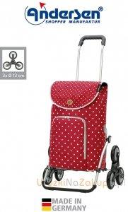 Wózek na zakupy Royal 6 Ole czerwony, firmy Andersen