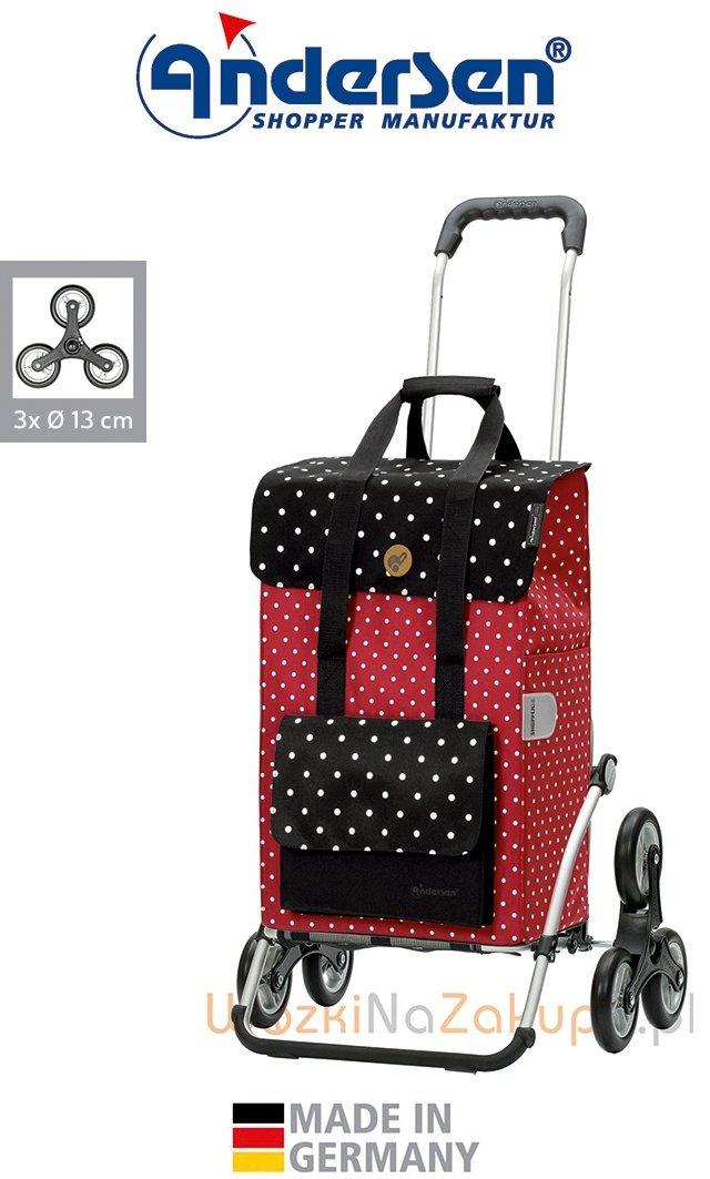 Wózek na zakupy Royal 6 Rul czerwony, firmy Andersen