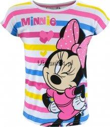 Bluzka Myszka Minnie biała w kolorowe paski