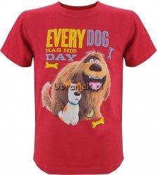 T-shirt Sekretne życie Max i Duke czerwony
