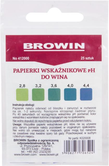 Papierki wskaźnikowe pH do wina - lakmusowe. 25 sztuk