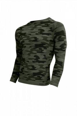 Sesto Senso Thermo Active Military Style dlouhý rukáv khaki Pánské sportovní triko