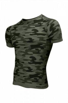 Sesto Senso Thermo Active Military Style krátký rukáv khaki Pánské sportovní triko
