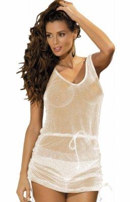 Marko Rose Bianco-zlaté M-382 (6) Plážové šaty