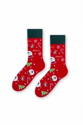 Steven 136 xmas! červené Pánské ponožky