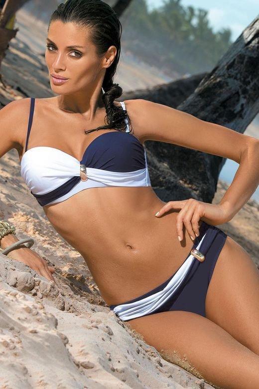 Dámské plavky Marko Liliana Uniform-Bianco M-259 Tmavě modré s bílou