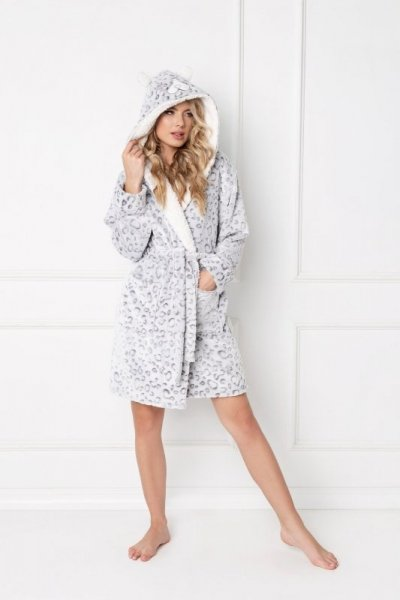 Aruelle Wild Look Bathrobe dámský župan  XL šedá panter