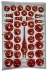 Zestaw dekorowany 39 szt. czerwony błysk złota dekoracja