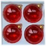 Bombki gładkie 8 cm 4 szt czerwone przezroczyste