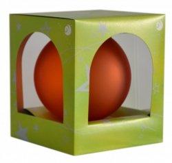 Bombka przezroczysta duża 15 cm pomarańcz mat