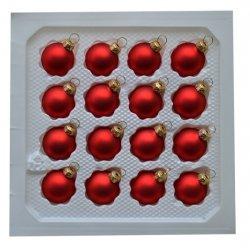Bombki gładkie 3 cm 16 szt czerwony mat