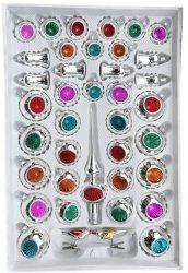 Zestaw dekorowany 39 szt srebrny reflektor mix kolorów