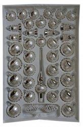 Zestaw dekorowany 39 szt srebrno-biały