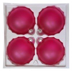 Bombki przezroczyste matowe 10 cm 4 szt RÓŻ