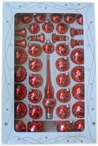 Zestaw dekorowany 39 szt czerwony błysk srebrna dekoracja