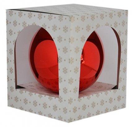 Bombka gładka 12 cm czerwony błysk