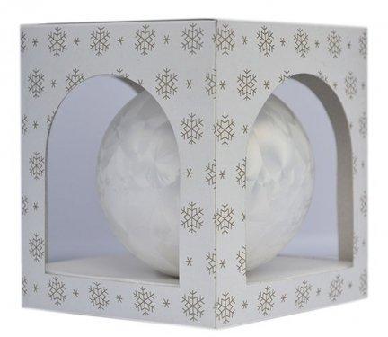 Bombka gładka duża 15 cm biała mrożonka