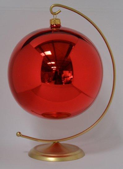 Bombka gładka duża 15 cm czerwony błysk