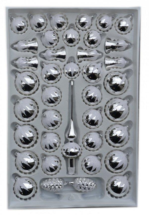 Zestaw dekorowany 39 szt srebrny błysk