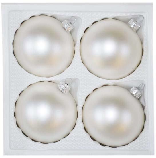 Bombki gładkie 8 cm 4 szt biały mat