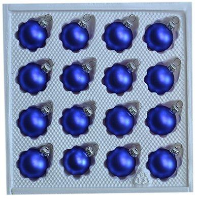 Bombki gładkie 3 cm 16 szt niebieski mat