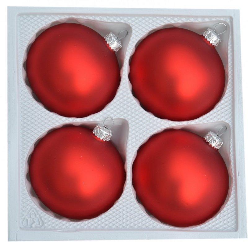 Bombki gładkie 8cm 4szt  czerwony mat