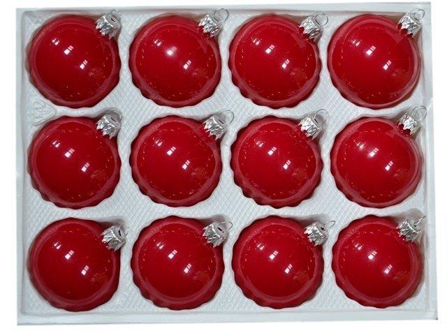 Bombki gładkie 6 cm 12 szt czerwona porcelana