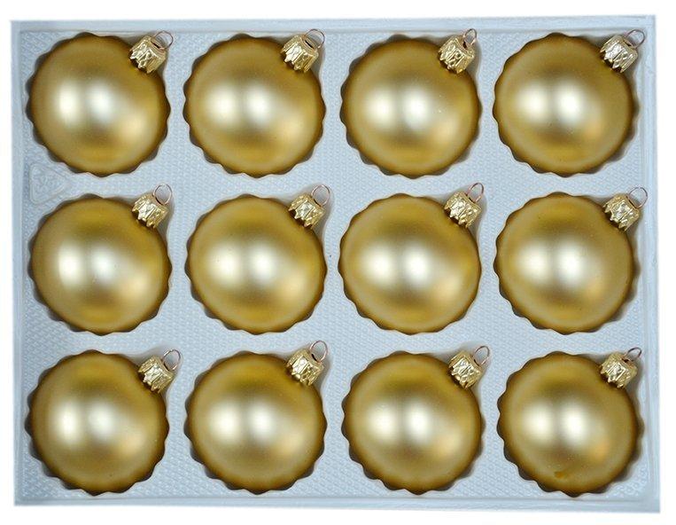 Bombki gładkie 6cm 12 szt złoty mat