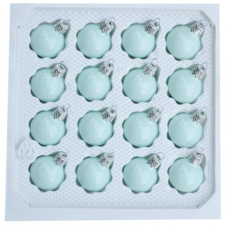 Bombki gładkie 3 cm 16 szt turkus porcelana