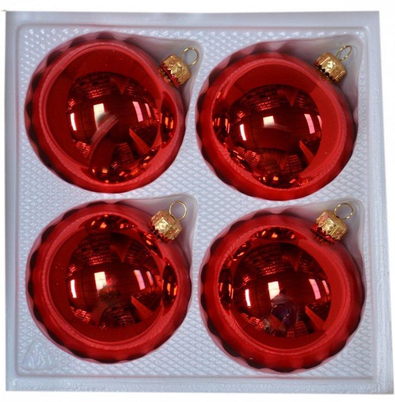 Bombki gładkie 8cm 4szt  czerwony błysk