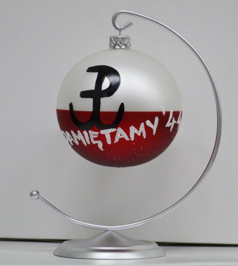 Bombka szklana biało-czerwona Polska Walcząca