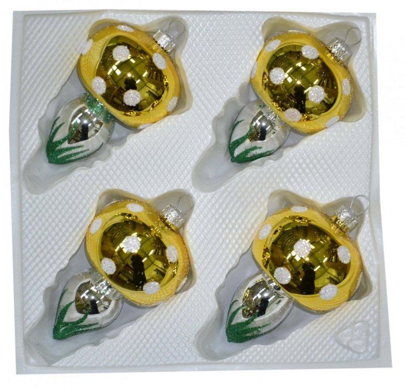 Grzybki szklane 4 szt złote