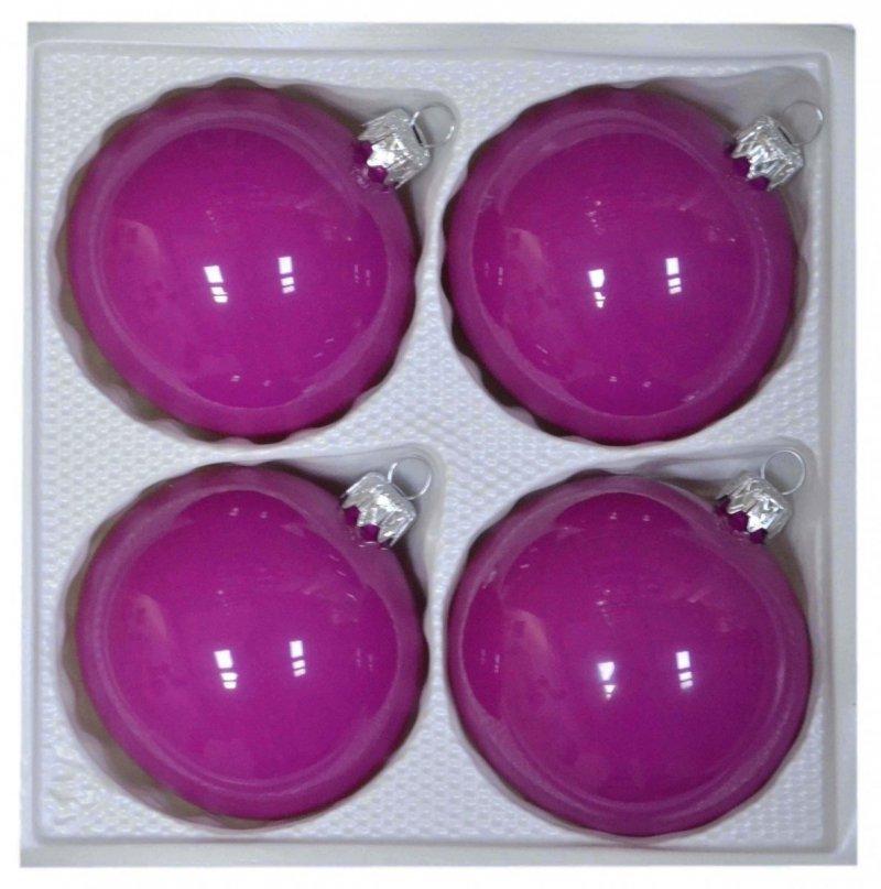 Bombki gładkie 8 cm 4 szt różowa porcelana