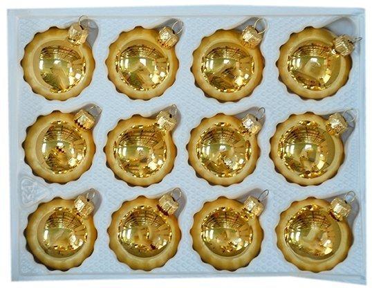 Bombki gładkie 6cm 12 szt złoty błysk