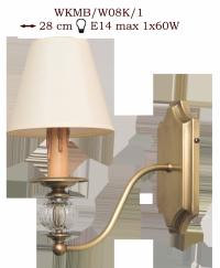Kinkiet mosiężny JBT Stylowe Lampy WKMB/W08K/1