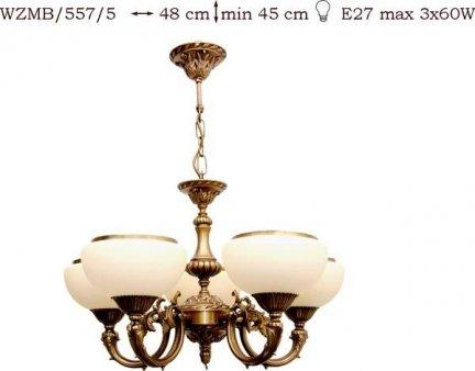Żyrandol mosiężny JBT Stylowe Lampy WZMB/557/5