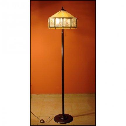 Lampa witrażowa podłogowa stojąca MIÓD