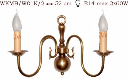 Kinkiet mosiężny JBT Stylowe Lampy WKMB/W01K/2