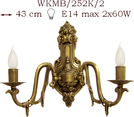 Kinkiet mosiężny JBT Stylowe Lampy WKMB/252K/2
