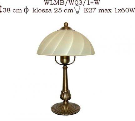 Lampka mosiężna JBT Stylowe Lampy WLMB/W03/1+W