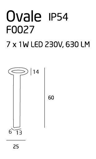 Ovale lampa zewnętrzna mała IP54 F0027 MAXlight